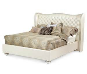 Upholstered Platform Bed King Aico Swank Cal King Upholstered Platform Bed Pearl