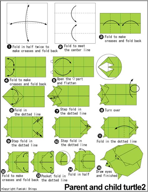 Origami Turtle Diagram - origami piggyback ride grasshopper origami and such