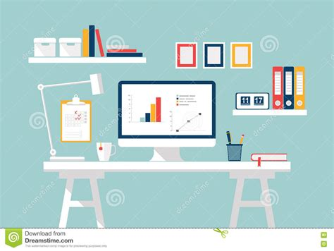modern home design vector workspace home office interior stylish home or studio