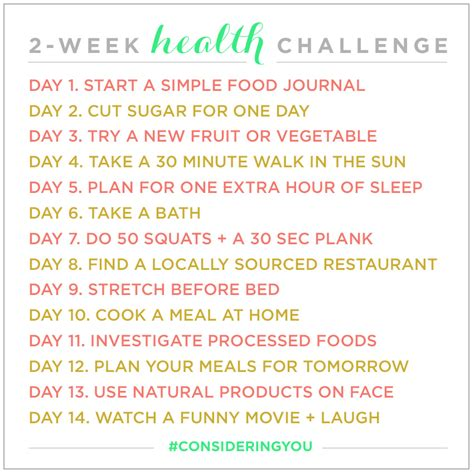 A New Cooking Challenge 2 by 2 Week Health Challenge Considering You