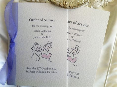 Wedding Service by And Groom Order Of Service Books