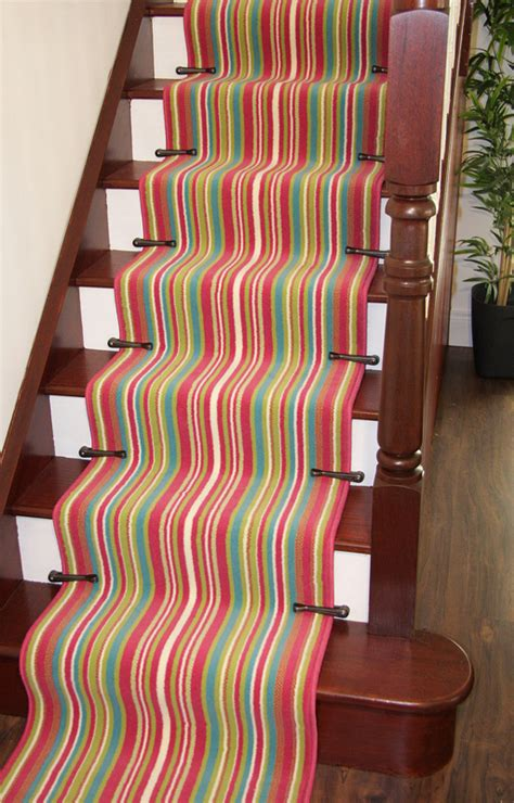 Red Washable Rug Striped Long Cut To Measure Any Length Stair Carpet Runner