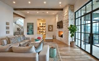 suburban house with exposed interior wood beams