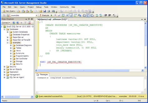 oracle tutorial create table exles mssql stored procedure create table database