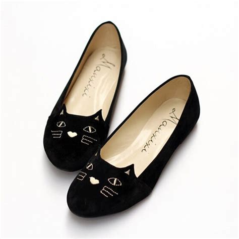 cat flat shoes black toe cat print embroidery flat ankle shoes