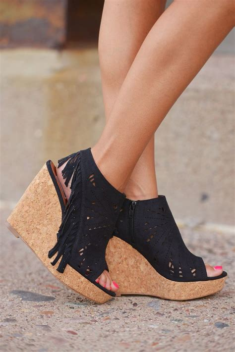 fringe delight wedge black  closet candy boutique