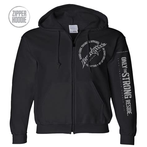 Zipper Hoodie Electronic 03 blood sweat iron brass knuckles dumbbell weightlifting zipper hoodie ironville clothing