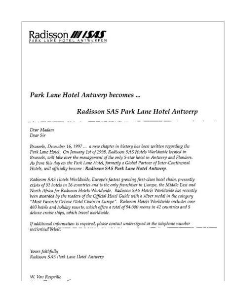 business letters history letter re take park hotel radisson sas