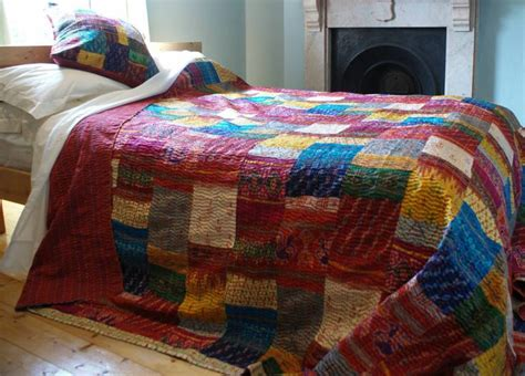 Unique Bedspreads Quilts by Unique One Of A Silk Sari Handcrafted Kantha Quilted