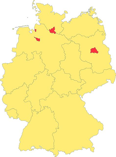 map of german states and cities states of germany