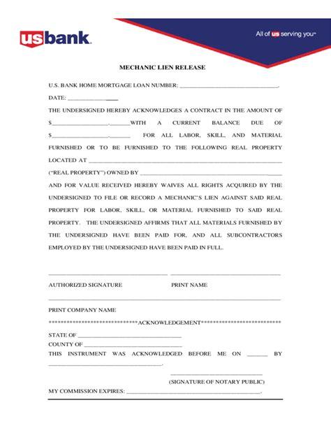 lien release forms mechanic lien release form free