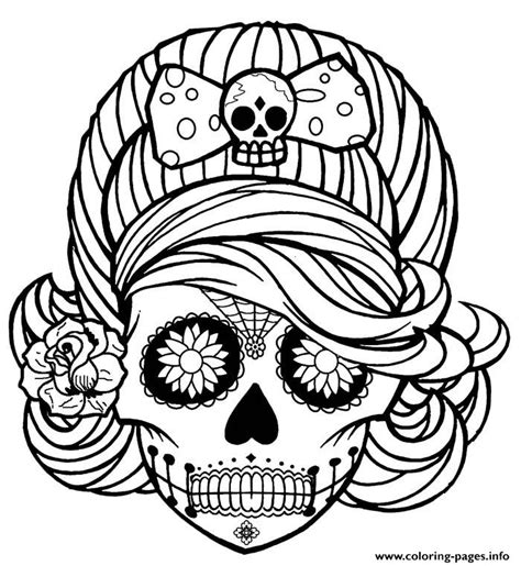 coloring pages for adults skulls girl skull cute adult coloring pages printable