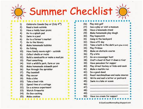 east coast summer lists