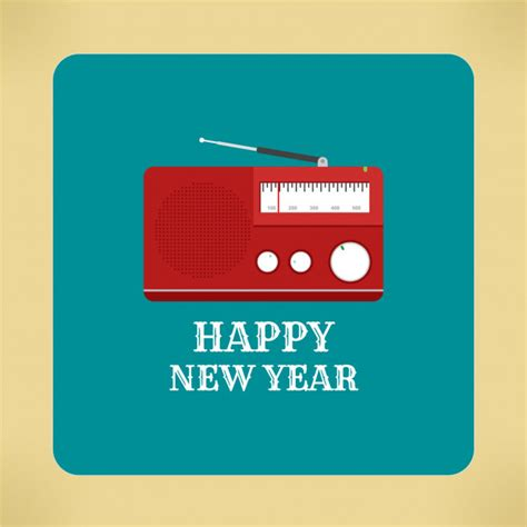 new year song radio vintage radio banner of happy new year 2018 vector