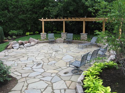 backyard stone patio ideas bluestone patio with flagstone and granite fire pit