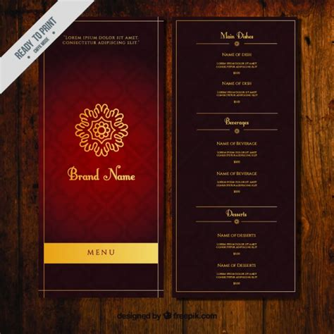 hotel menu card template free ornamental menu template with golden ornament vector