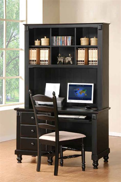 Small Black Computer Desk With Hutch Office Furniture