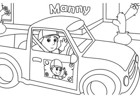 handy manny and his car coloring page handy manny and his
