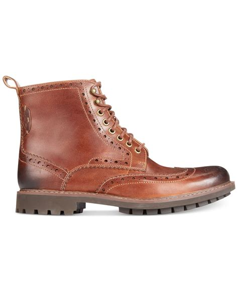 wing boots for clarks montacute wing tip boots in brown for