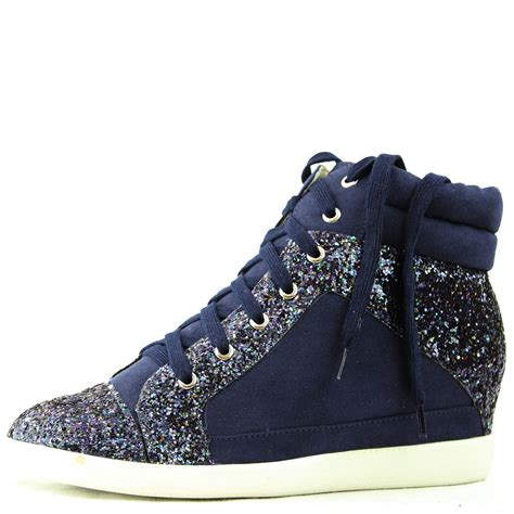 navy blue sneakers high top lace wedge heel glitter