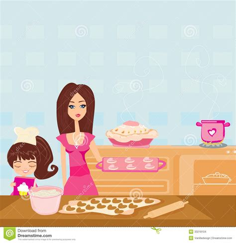Home Plans With Interior Pictures by Happy Daughter Helping Her Mother Cooking In The Kitchen