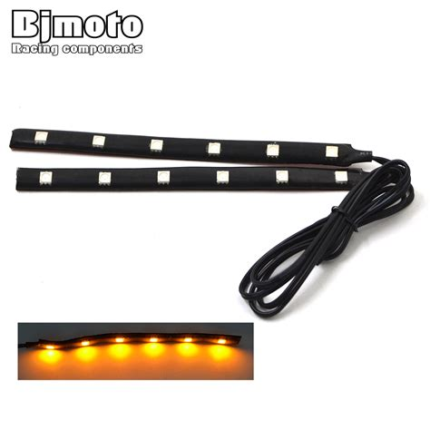 12v amber led light strips 2pcs universal motorcycle strip turn signal indicator