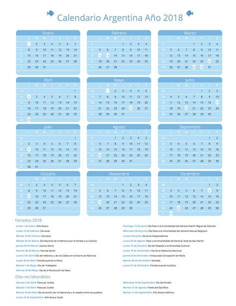Argentina Calend 2018 Calendario Argentina A 241 O 2018 Feriados