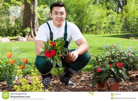 How To Plant A Flower Garden Asian Gardener Planting Flowers Stock Photo Image 41054761