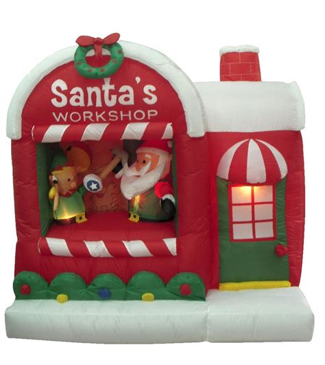 christmas yard blowups santa claus workshop yard outdoor decoration balloon ebay