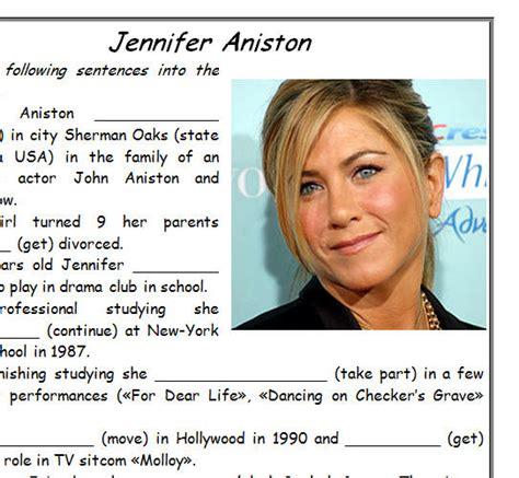esl celebrity biographies jennifer aniston biography worksheet