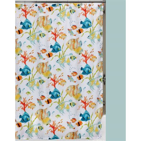 Tropical Shower Curtains Creative Bath Rainbow Fish 72 In X 72 In Tropical Themed Shower Curtain Set S1073 3 The Home