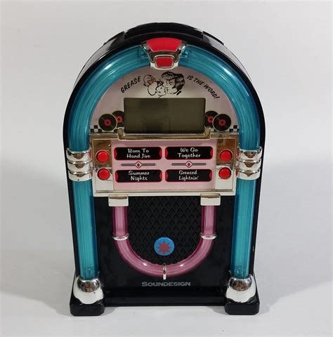 vintage 1950 s style soundesign grease is the word jukebox shaped alarm clock in 2019 clocks