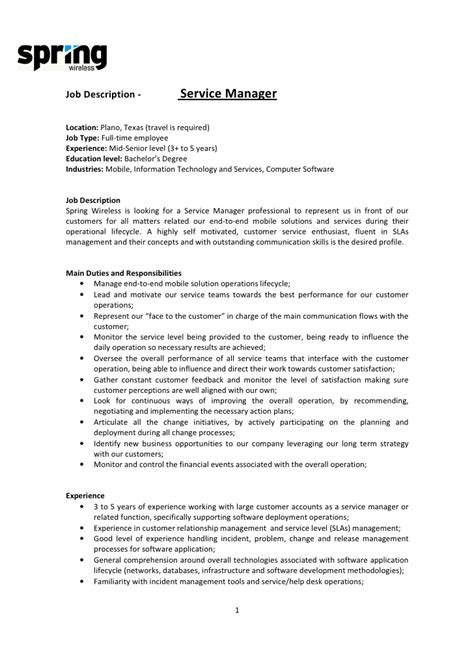 Description Customer Service Manager by Doc 596842 Customer Service Manager Description Customer Service Manager Resume Sle