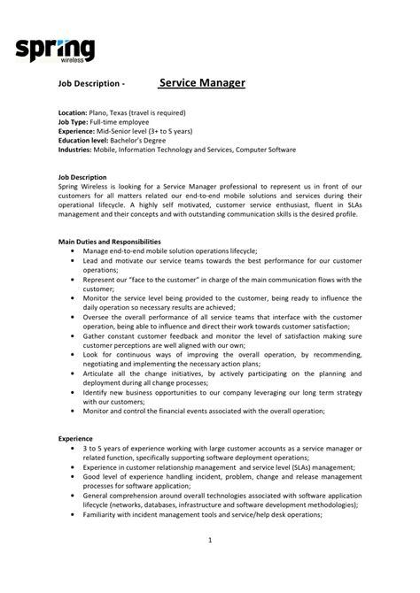 Service Director Description by Doc 596842 Customer Service Manager Description Customer Service Manager Resume Sle