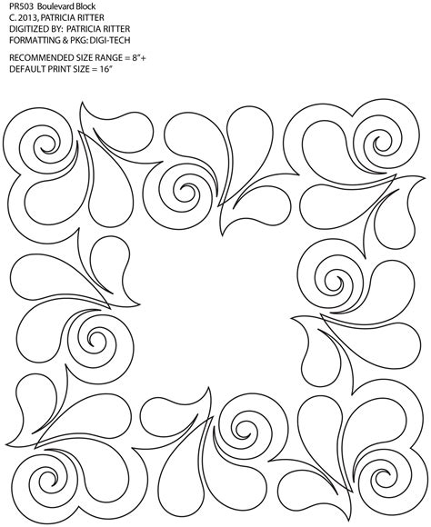 continuous line quilting designs square applique and