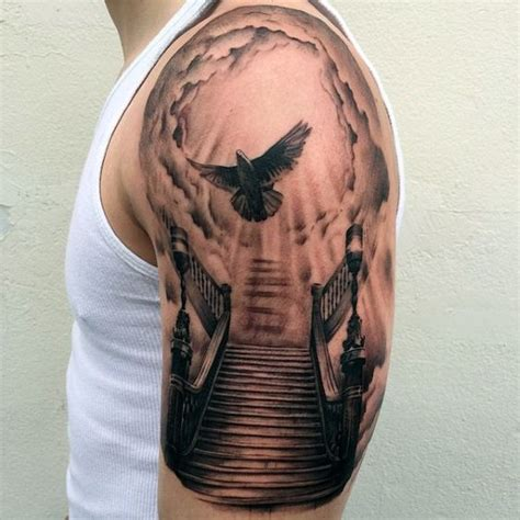 tattoo new cross gate cool flying dove heaven gates tattoos for guys half sleeve