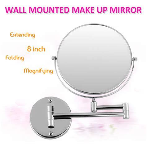 wall mount bathroom cosmetic mirror round magnifying wall mounted bathroom 2 sided 7x magnifying makeup shaving