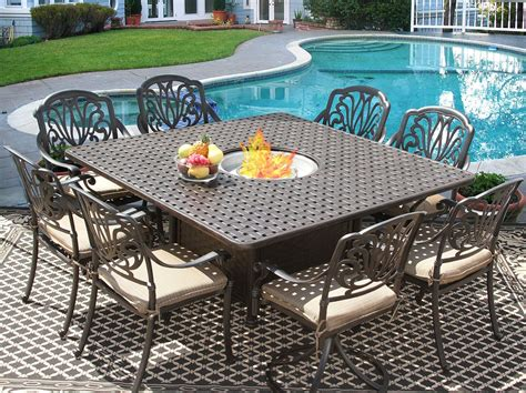 Eli 64x64 Square Outdoor Patio 9pc Dining Set for 8 Person