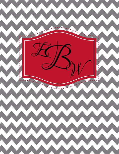 chevron binder cover templates free monogram binder cover