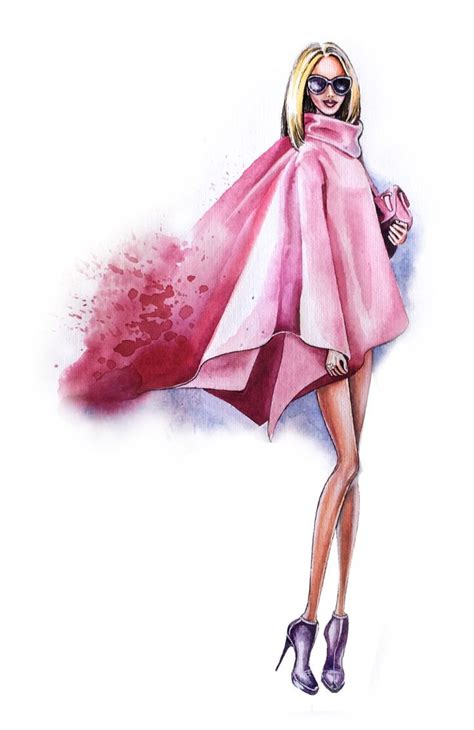 Pink Sketches by Style Fashion Illustration Pink Look By Olga