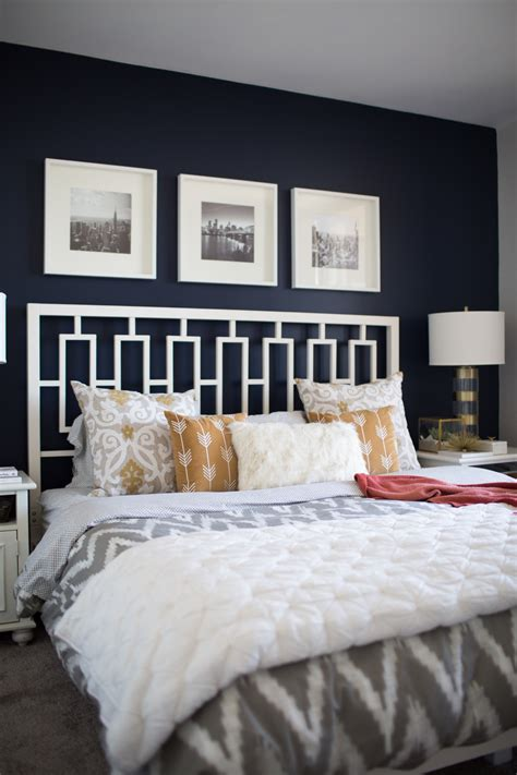 Grey Bedroom With Navy Accents Navy Blue Accent Wall Bedroom Modern Bedrooms Grey With