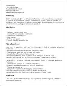 automotive technician resume exles resume format