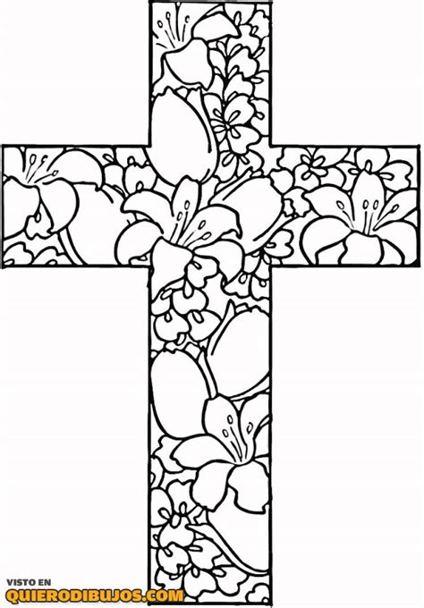 cool christian coloring pages cruz con muchas flores