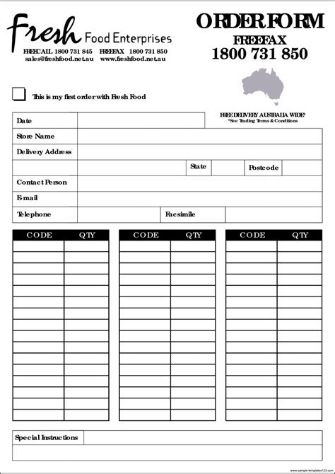 food order template sle templates