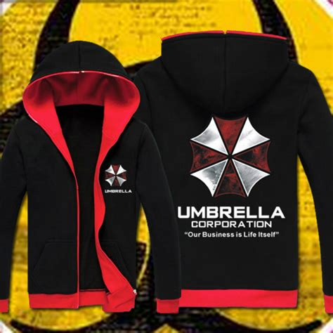 Sweater Hoodie Evil Corp Navy Front Logo resident evil hoodie costume hooded jacket coat fashion umbrella corporation logo unisex