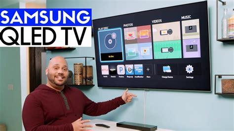 samsung qled qf  hdr tv unboxing setup wall mount