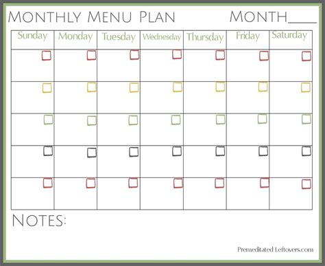 monthly dinner menu template search results for monthly dinner menu planner template