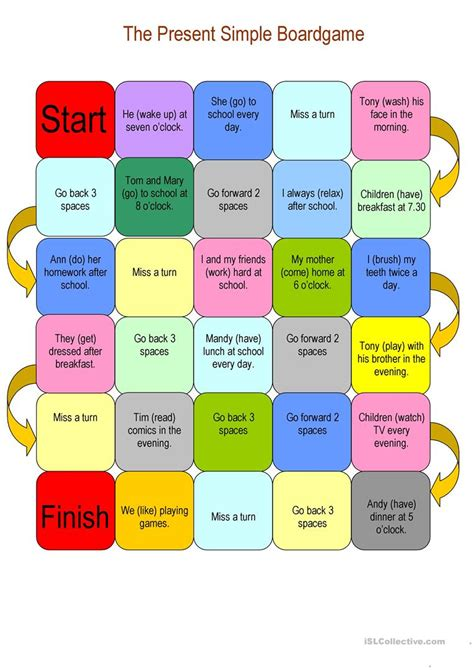 printable board game present simple the present simple boardgame worksheet free esl