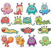 Cartoon Funny Monsters Vector  AI Format Free