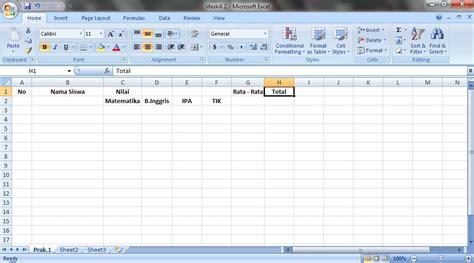 membuat ranking nilai di excel cara membuat tabel nilai pada ms excel nataya